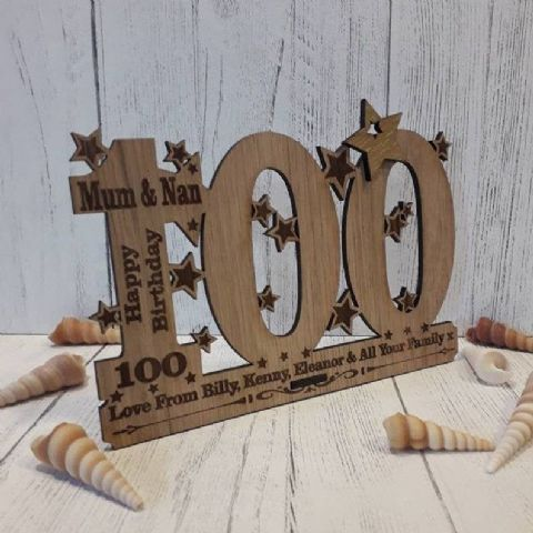 Personalised One Hundredth 100th Birthday Celebration Card Oak Wooden Keepsake Gift